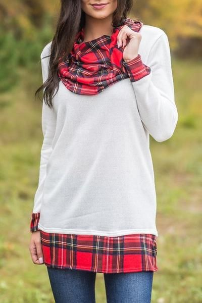 White Autumn Wind Plaid Cowl Neck Tunic Top