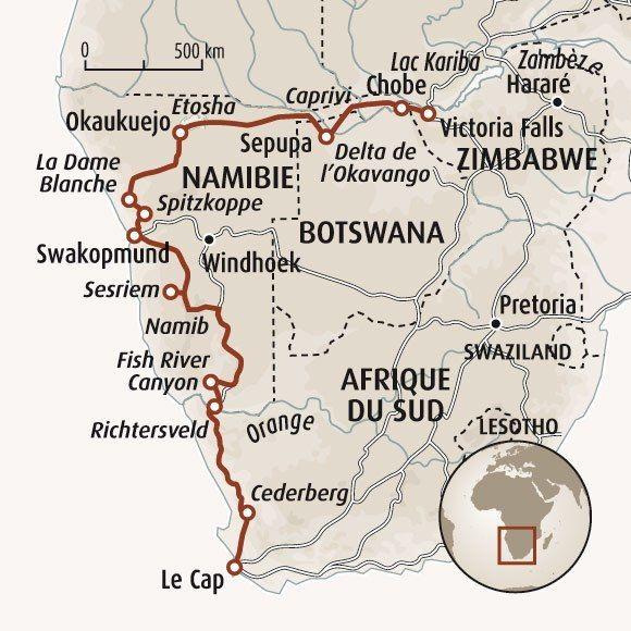 Circuit carte Afrique du Sud : Du cap de Bonne Espérance aux chutes Victoria