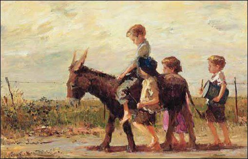 """Children on the March with a Donkey"" Adriaan Boshoff"