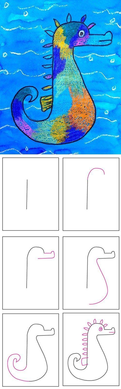 Stap voor stap: teken een zeepaardje. Tekenen met wasco en dan kleuren met ecoline. voor de achtergrond kun je wat kleuterlijm en glitter mengen met ecoline, voor een mooi effect!