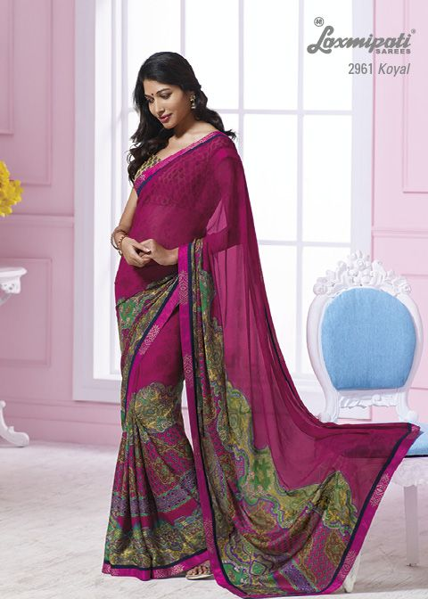 This dark pink georgette & jacquard crape material saree with pink color border  & with beautiful prints.