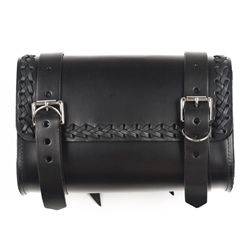 Check out the quality craftsmanship on this genuine leather motorcycle tool bag with leather braided trim that is manufactured right here in the USA