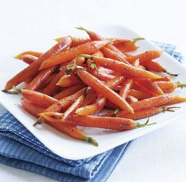 Maple Pan-Roasted Baby Carrots - start cooking the carrots on the stovetop and then move them to the hot oven to roast. The direct heat of the stovetop jump-starts the caramelizing of the carrots.