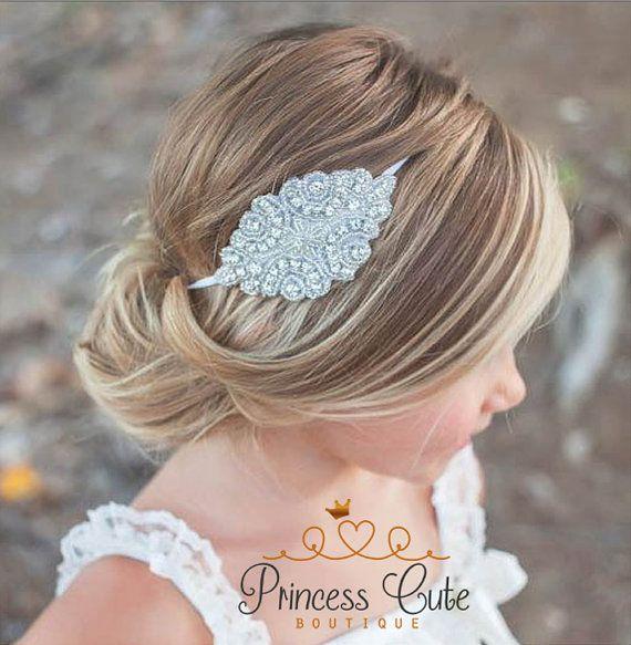 Bloemenmeisje Rhinestone hoofdband, bloemenmeisje haartoebehoren