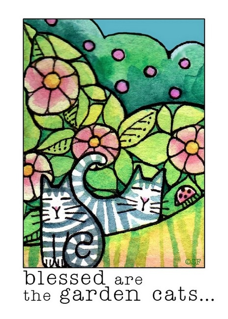 Blessed Are The Garden Cats Print| by Susan Faye