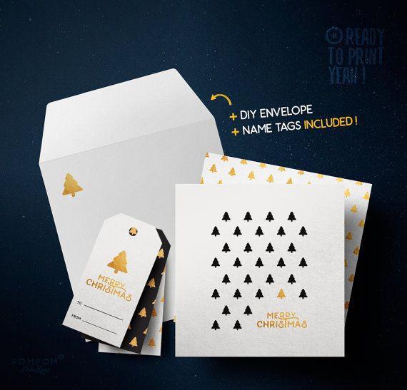 Carte de voeux À IMPRIMER Carte de noël Merry Christmas carte de voeux imprimable Enveloppe DIY étiquettes cadeaux noir Sapins or