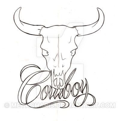 Black Outline Cow Skull Tattoo Stencil