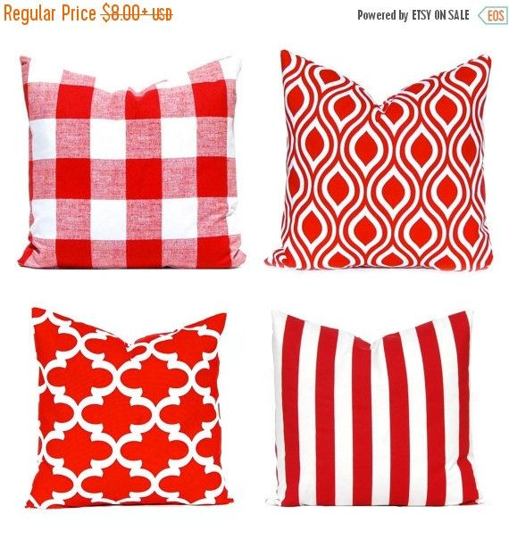 15% Off Sale One Red and White Throw Pillow Cover - Lipstick Red Cushion Cover - Red Pillow Cover - Moroccan Tiles - Red Buffalo Check Pillo
