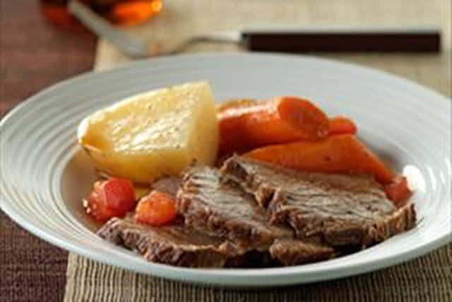 Create a simple, delicious braised rump roast. Some vegetables, pepper and a long simmer are all it takes.