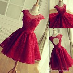 Free shipping, $98.49/Piece:buy wholesale 2016 Red Lace Prom Dresses Short Mini Skirt Sheer Neck Tulle Appliques Graduation Homecoming Party Gowns Vestidos De Fiesta Cortos from DHgate.com,get worldwide delivery and buyer protection service.