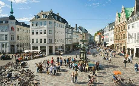 Strøget is a 0.6 mile long main artery running through Copenhagen's city centre, the collective name for five pedestrianised streets.