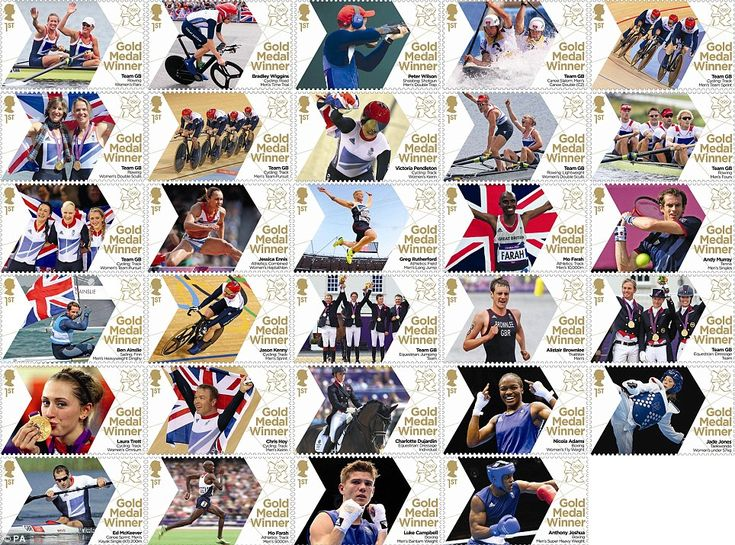 """I have two - I want all of them!  """"Stamp of approval: Royal Mail has created a stamp in honour of each of Team GB's gold medal winners"""""""