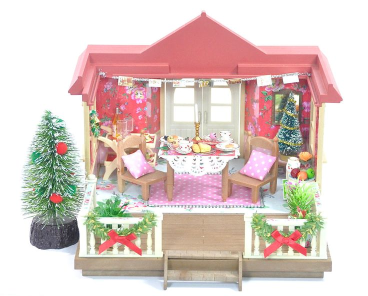 Fistuff Sylvanian Families XMas Decorated Conservatory Dining Room House Set