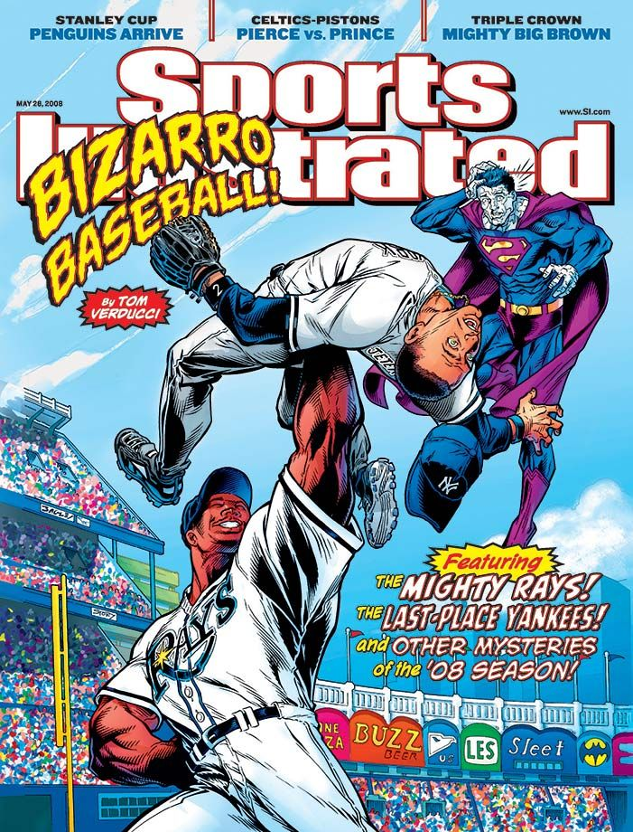 A comic book style SI cover from May 26, 2008, pictures Carl Crawford holding up Derek Jeter as Bizarro Superman looks confused. Today, Sept. 25, is National Comic Book Day. (Mark Bagley, Karl Story...