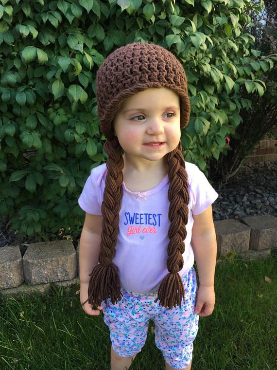 da26b569f41 Brown Braids Crochet Hat Yarn Wig Infant Baby Child Toddler Teen ...