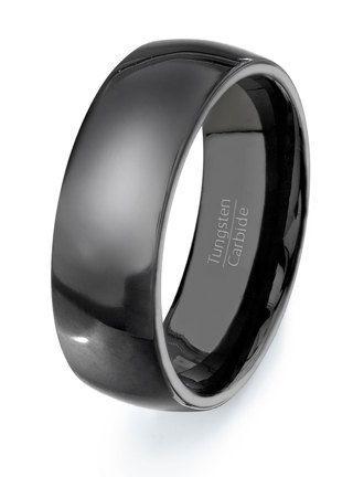 Tungsten Ring Solid Dark Wedding Band Mens Carbide Rings Dome Style Via Etsy Weddingring