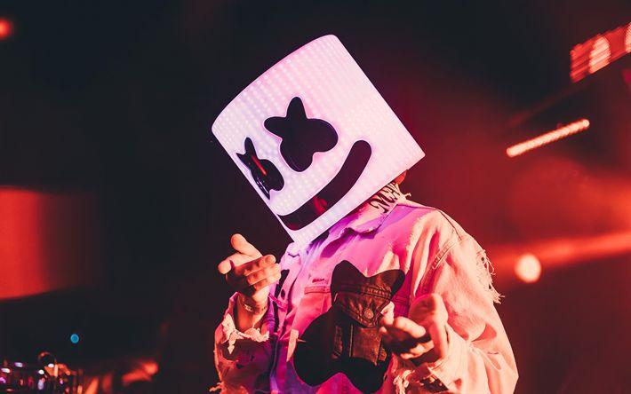 Download wallpapers Marshmello, DJ, night party, superstars, DJ Marshmello