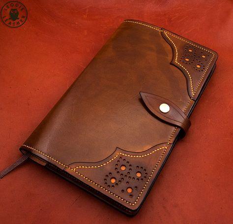 Piel cubierta de Moleskine 13x21cm Notebook por LeodisLeather