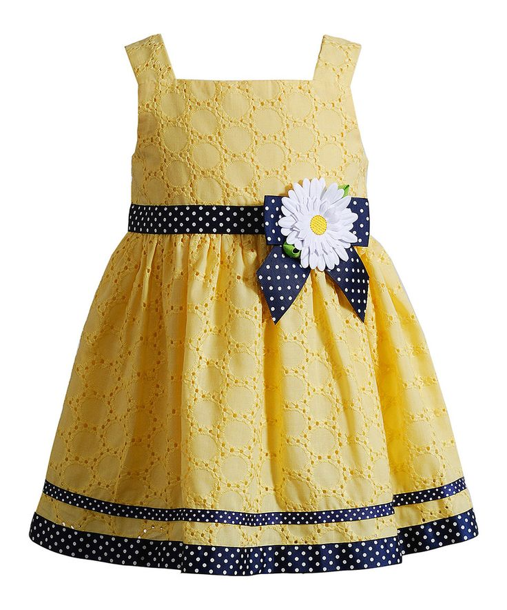 Look at this #zulilyfind! Youngland Yellow & Navy Daisy Dress - Infant, Toddler & Girls by Youngland #zulilyfinds