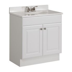 Project Source White Integral Single Sink Bathroom Vanity with Cultured Marble Top (Common: 30-in x 19-in; Actual: 30.5-in x 18.6-in)