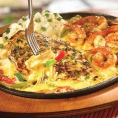 TGI Friday's sizzling chicken & shrimp - sautéed garlic-marinated chicken…