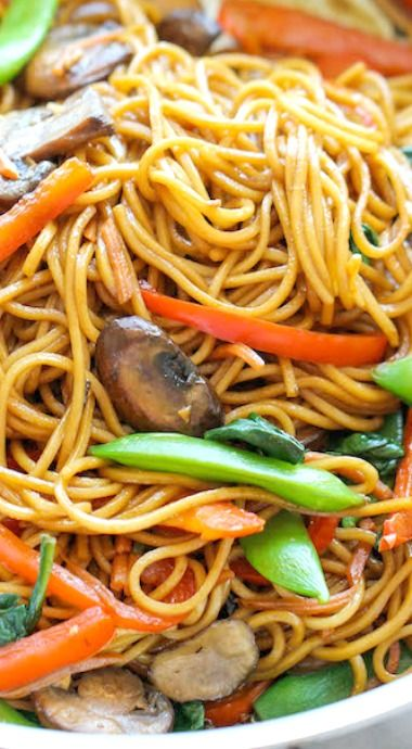 Easy Lo Mein NOT vegan as written bc of the egg noodles. Are there egg-less noodles? Guess I'll Google noodles.