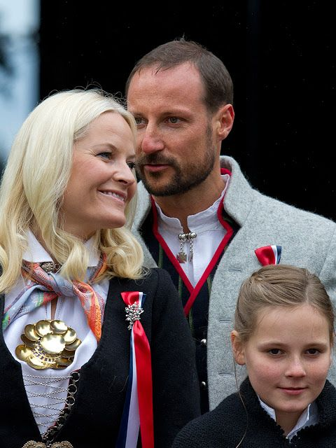 Norway's National Day Celebrations 2015 May 17 Crown Prince Haakon of Norway and Crown Princess Mette-Marit of Norway with Princess Ingrid Alexandra