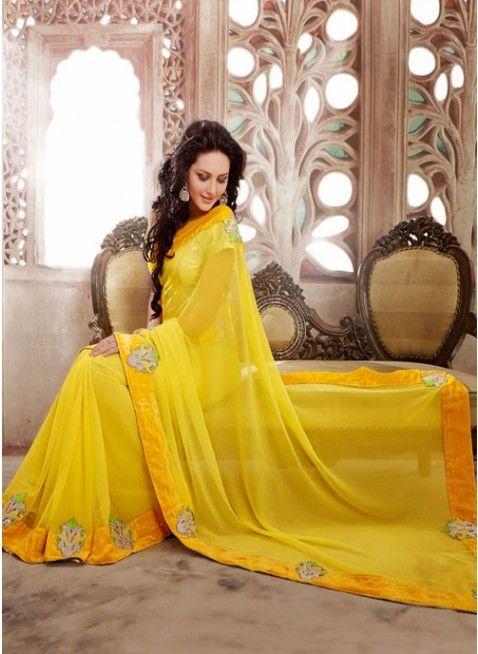 Scintillating Yellow Chiffon based Embellished #Saree