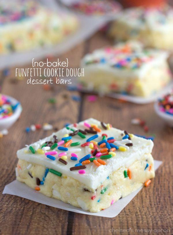 {No-Bake} Funfetti Cookie Dough Bars