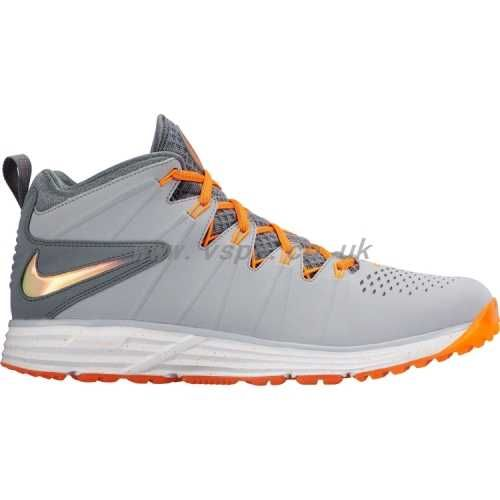 Nike Huarache 4 Lax LE Turf Lacrosse Shoe (Men kdMl) Grey/orange