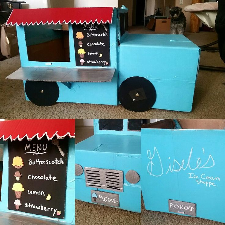 Cardboard box car- ice cream food truck! Combine two boxes, paint, and some ice cream stickers.