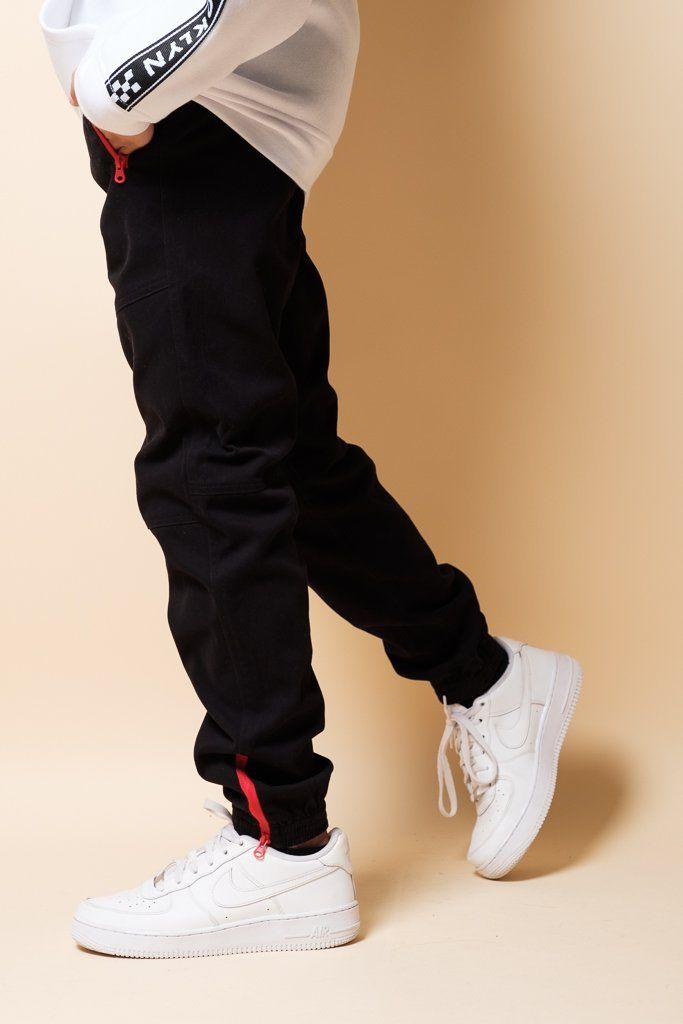 Boys Ankle Zip Black Twill Jogger Pants Boys Joggers Jogger Pants Joggers