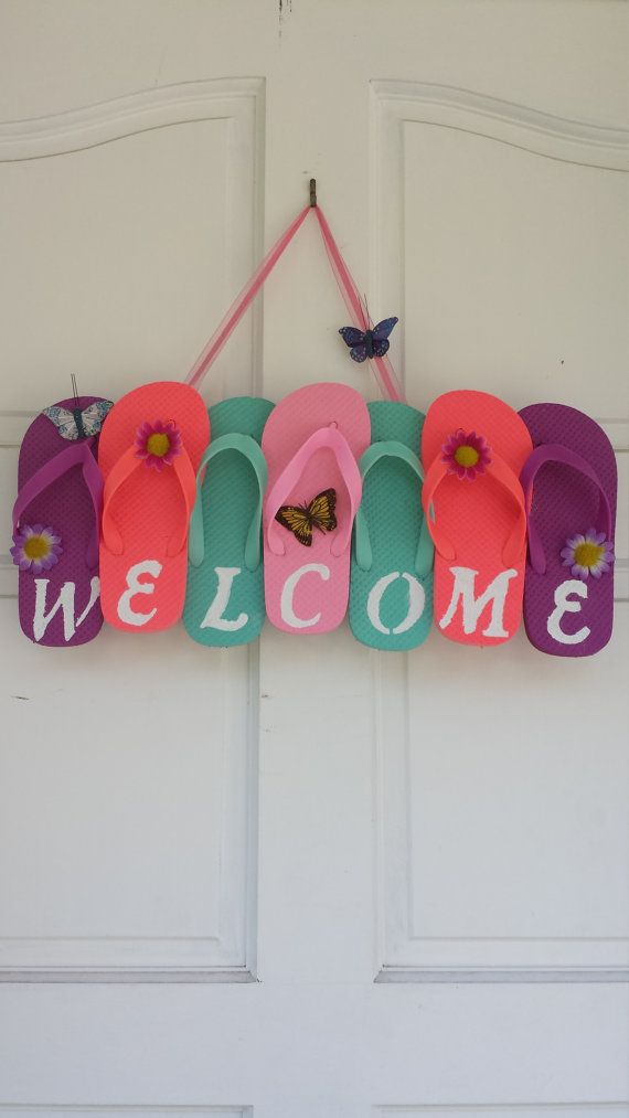 Flip Flop Wreath Welcome Wreath Summer Wreath by ADCMDesign