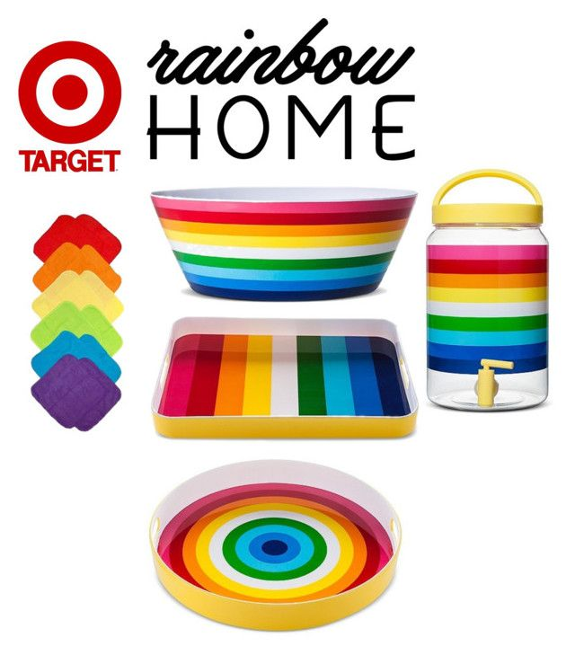 """Rainbow Home: Kitchen"" by stephicidal ❤ liked on Polyvore featuring interior, interiors, interior design, home, home decor, interior decorating, kitchen and rainbowhome"