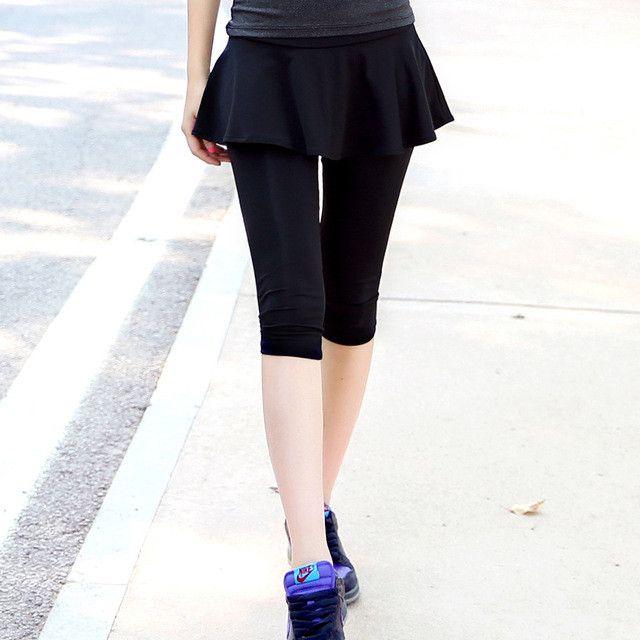 RealLion Culotte Yoga Leggings Women Sport Pants Thin Running Fitness Divided Skirt Jogging Slim Pantskirt Bodybuilding Clothing