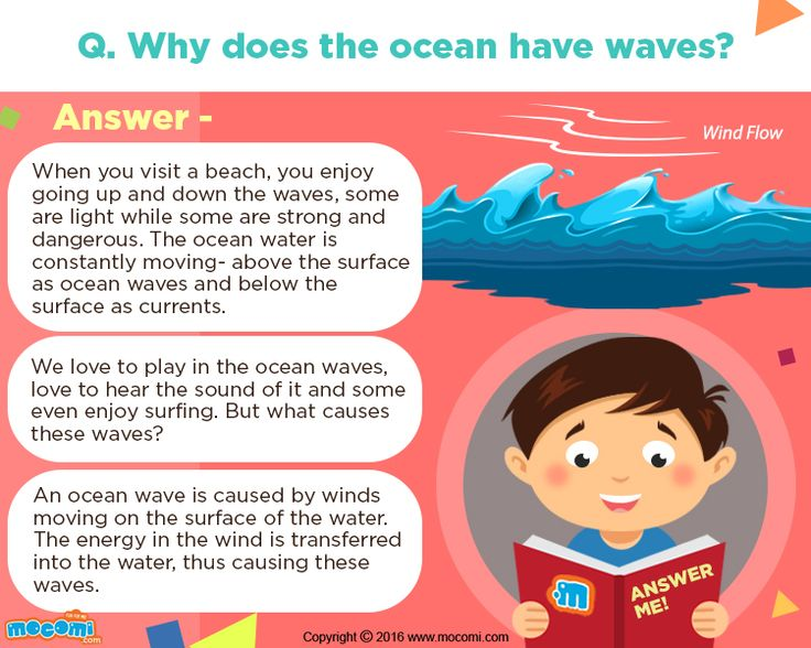 What causes Ocean Waves? - Ocean waves are caused by winds moving on the surface of the water. This causes the energy to be transferred from the wind to water, thus causing waves. Get more cool Answer me for Kids, visit: http://mocomi.com/learn/new-world/answer-me/