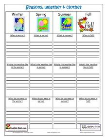 ESL, Printable worksheets, Weather, Months,Clothes, Seasons English vocabulary,