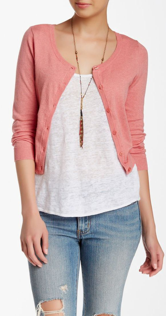 Wild Pearl | Scoop Neck Cropped Cardigan... Very simple I like it...