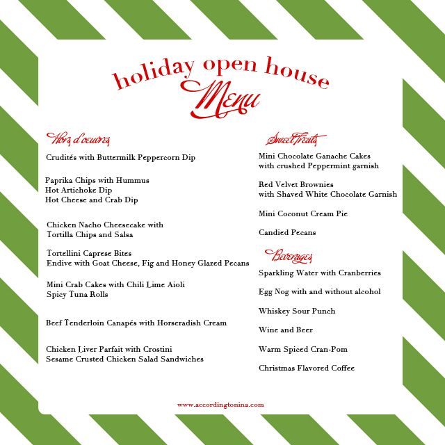 Planning a holiday open house need a menu with recipes this is for you the gift of a meal - Christmas menu pinterest ...