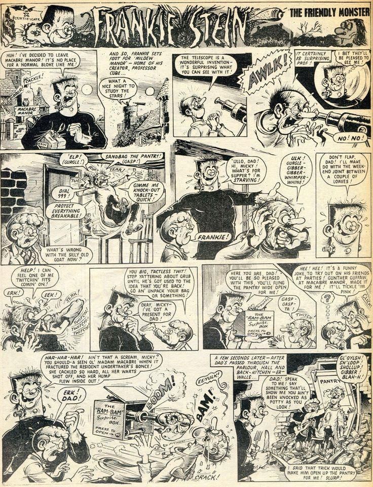 Frankie Stein's first appearance, from 'Wham' comics, UK. Twisted art & story by Britain's answer to Basil Wolverton, the incomparable Ken Reid (RIP). For more Ken Reid Kraziness, check out my new board deadicated to his genius! Enjoy, Loz :-)