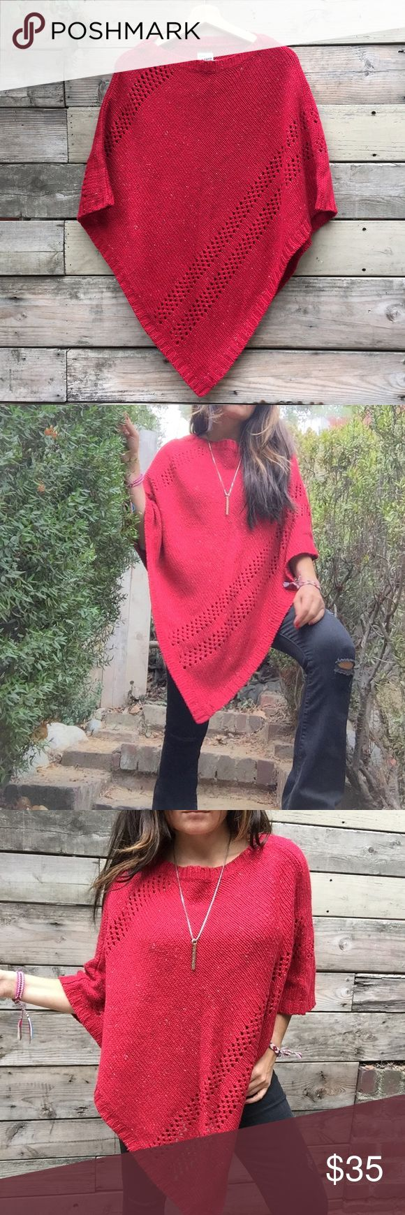 Knitted red poncho Super cute! Perfect color for the season! Makes me feel a bit like little red riding hood...ha! Size Small/Medium. Great condition. Speckled red yarn. Fabric Contents 55%Ramie 41% Acrylic 4%other fibers. Hand wash Bass Sweaters Shrugs & Ponchos