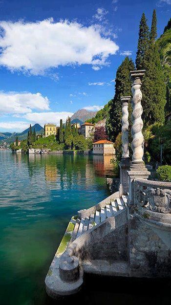 #LakeComo ~ is #Italy's most popular #vacation lake and a playground for the wealthy. The lake is located at the foothills of the Alps.