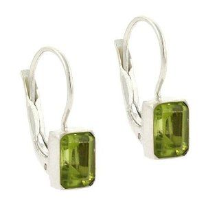 Sterling Silver Genuine Peridot Stone Emerald cut LeverBack Lever Back Earrings SilverSpeck.com. $19.99. Width: 6 millimeters. Weight per earring: 0.9 grams. Height: 18 millimeters