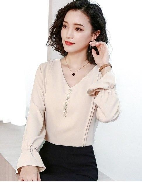 Solid Women Blouse Chiffon Shirt V-Neck Pearl Beading Ruched Lantern Long Sleeve Tops Plus Size Blusa T91594 Apricot blouse M