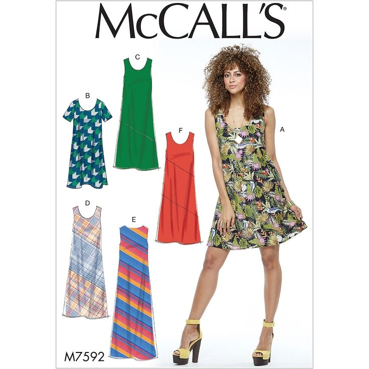 Misses Pullover Bias-Cut Tank Dresses McCalls Sewing Pattern 7592.