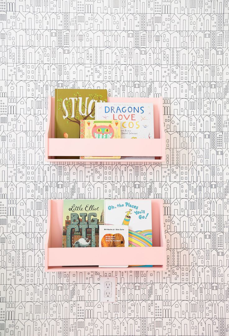 pink bookshelves