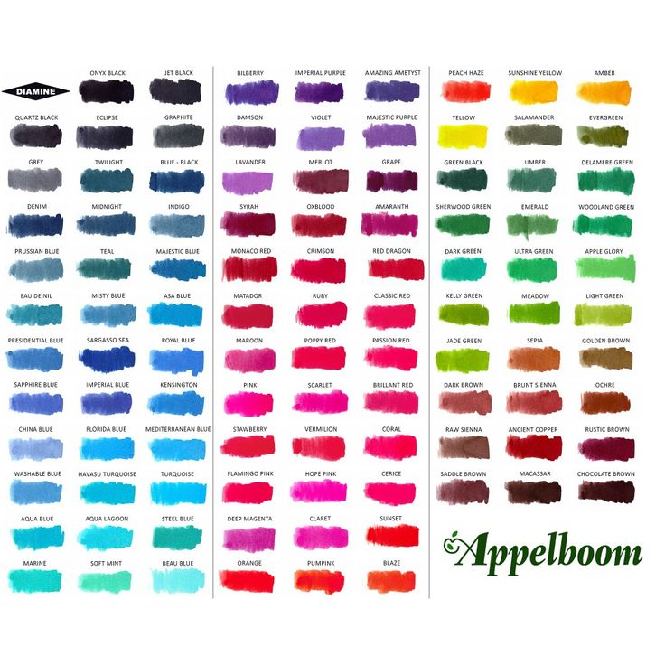Diamine fountain pen ink colours 3 for Tattoo ink color chart