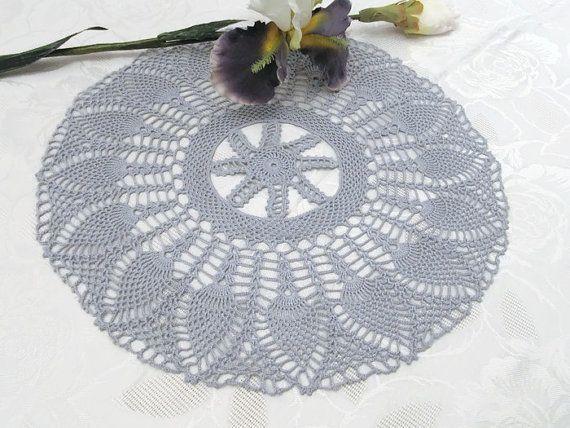 Centrino ananas argento 16 pollici Crochet di DoliaGalinaCrochet