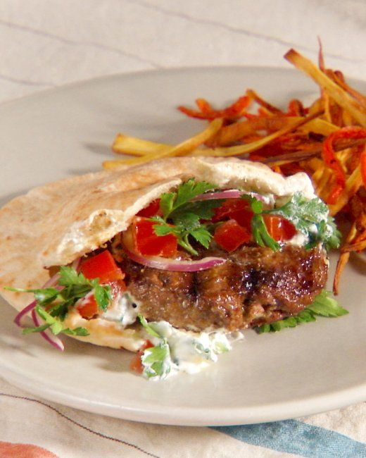 Lamb Burgers with Tzatziki Sauce and Parsley Salad | Recipe