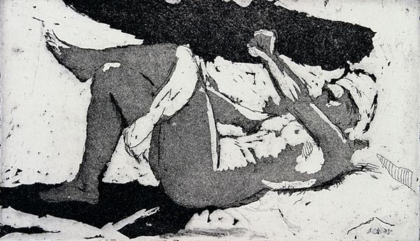 """""""Study, Undressing on the Bed,"""" Isabel Bishop, 1961 (printed 1985), etching and aquatint, sheet: 9 1/2 x 13"""", Davis Museum and Cultural Center."""